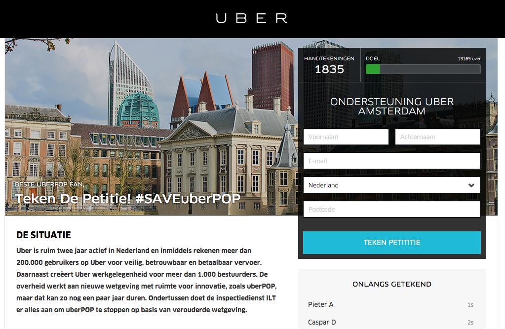 uber petitie