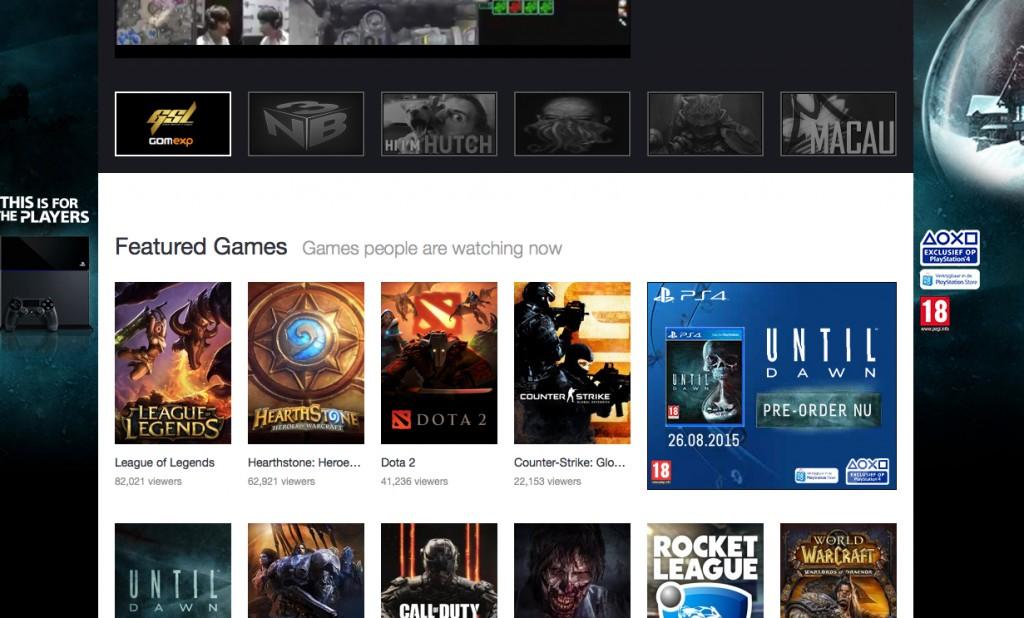 Twitch.tv homescreen