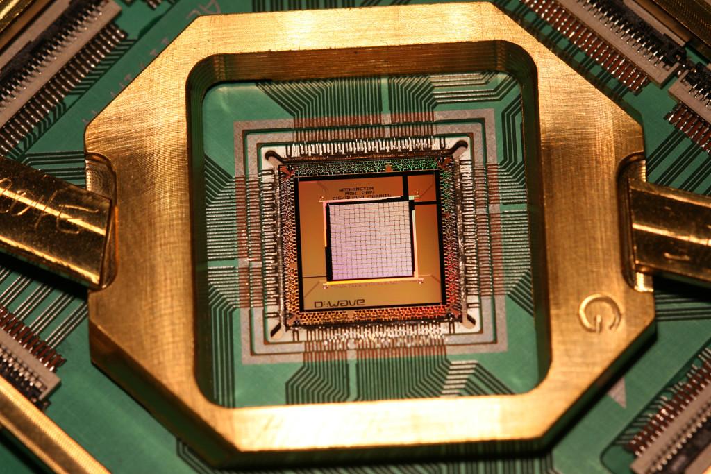 Qubit-chip van quantumcomputer D-Wave