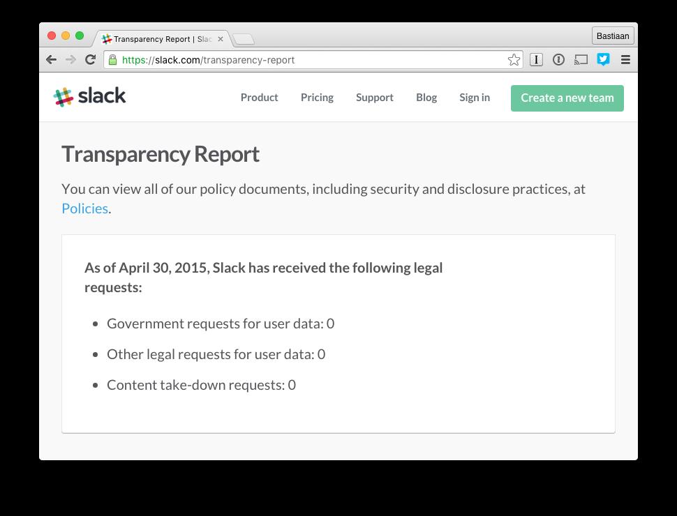 Slack transparantie