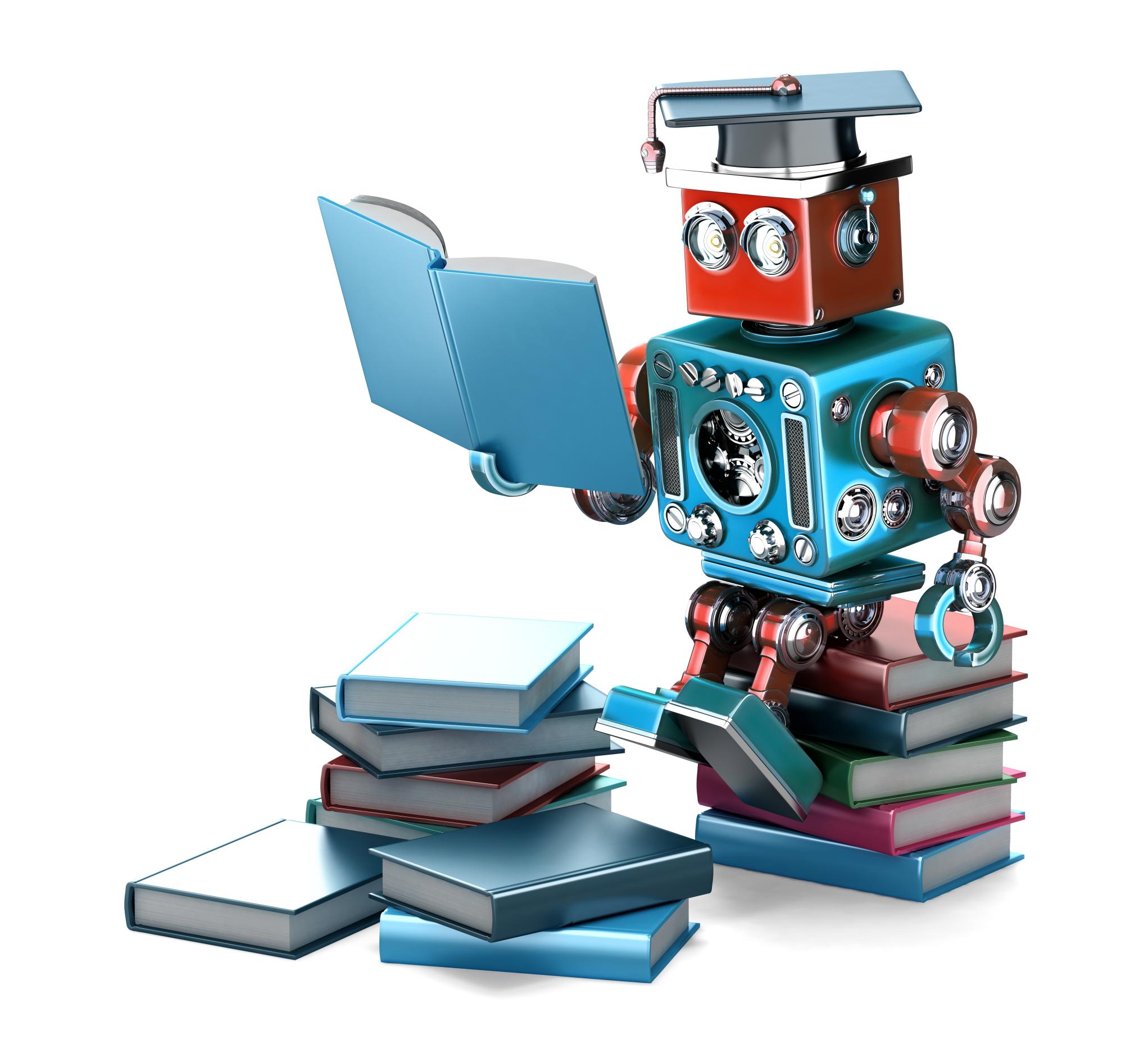 Robot leest boek