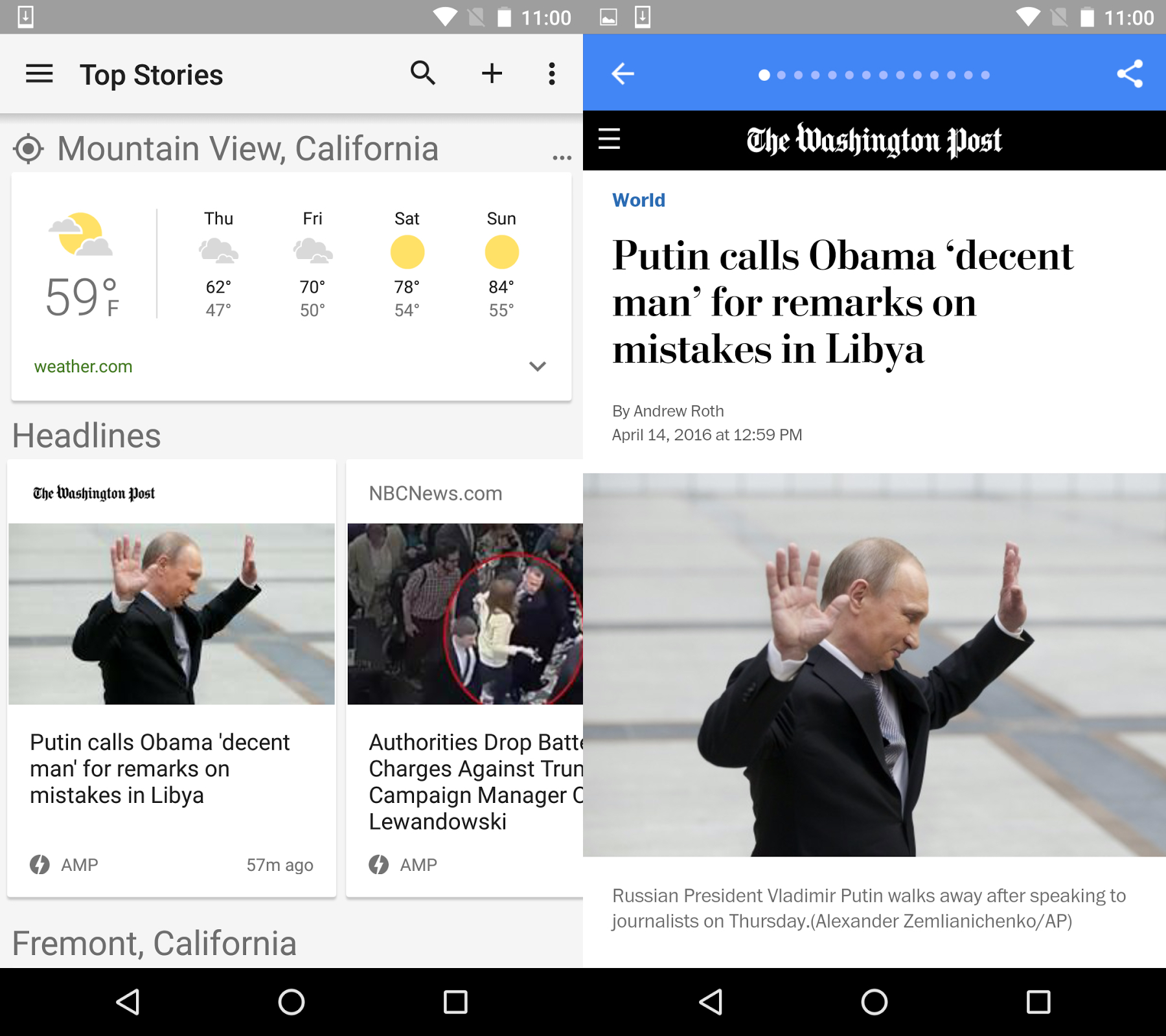 Google AMP in de Amerikaanse versie van Google News