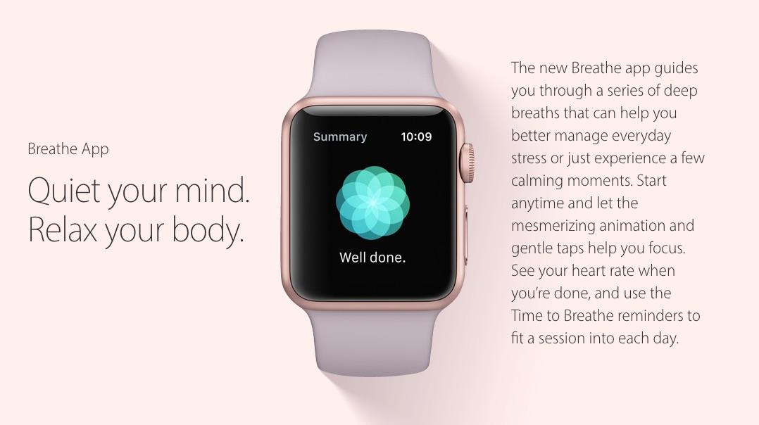 Nieuw voor de Apple Watch: ontspanningsapp Breathe