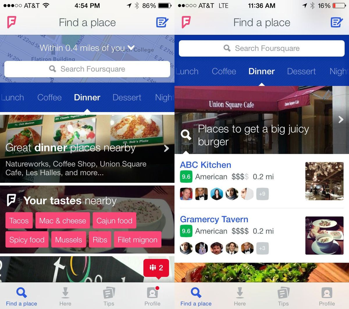 Foursquare screenshots
