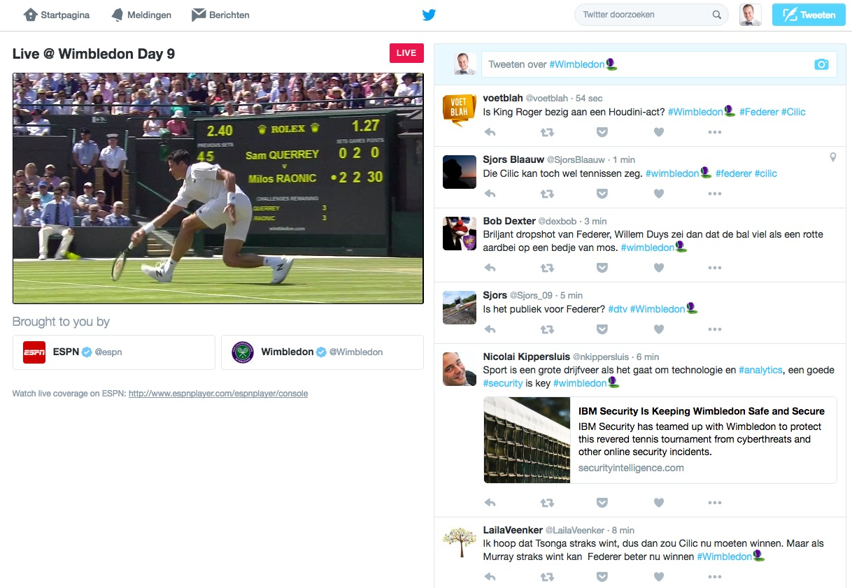 Livestream Wimbledon op Twitter