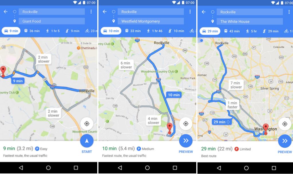 google maps parkeren