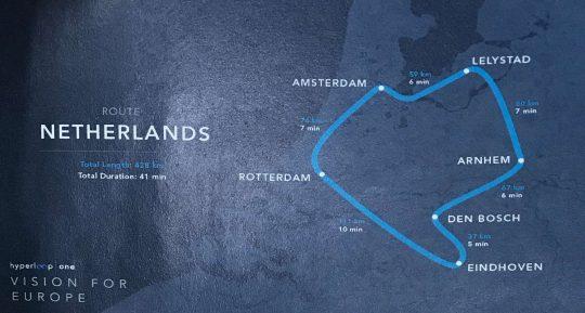 Hyperloop One Netherlands route