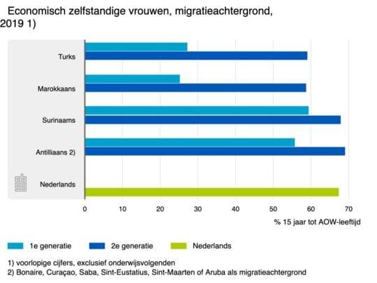 Economisch zelfstandige vrouwen naar migratieachtergrond